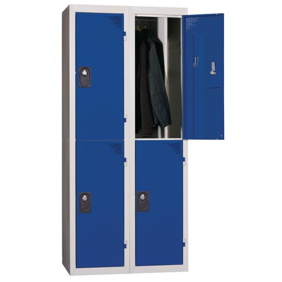 Vestiaire Multicases 2 Colonnes 2 Cases Ind. Salissante Bleu L400