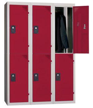 Vestiaire Multicases 3 Colonnes 2 Cases Ind. Salissante Rouge L400