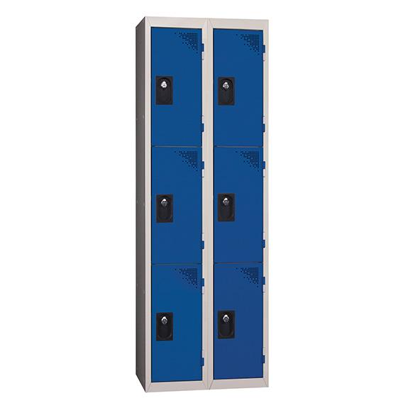Vestiaire Multicases 2 Colonnes 3 portes Bleu L300