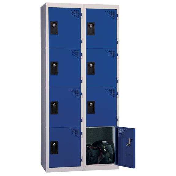 Vestiaire Multicases 2 Colonnes 4 portes Bleues L400