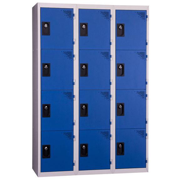 Vestiaire Multicases 3 Colonnes 4 portes Bleues L400