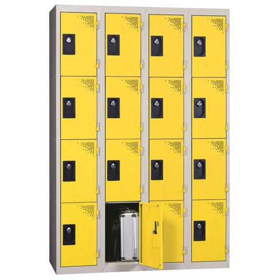 Vestiaire Multicases 4 Colonnes de 4 Cases Jaune L300