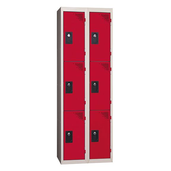 Vestiaire Multicases 2 Colonnes 3 portes Rouge L300