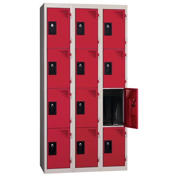 Vestiaire Multicases 3 Colonnes de 4 Cases Rouge L300