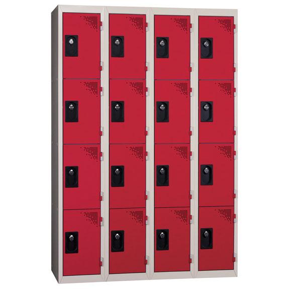 Vestiaire Multicases 4 Colonnes de 4 Cases Rouge L300