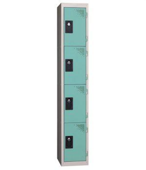 Vestiaire Multicases 1 Colonne 4 portes Verte L300