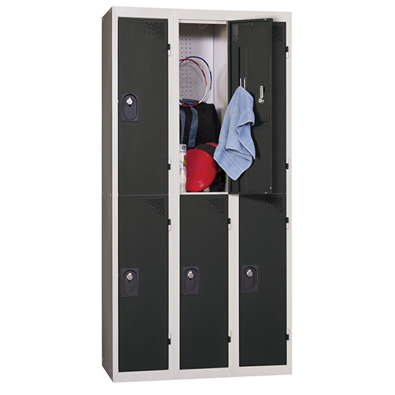Vestiaire Multicases 3 Colonnes de 2 Cases Anthracite L300
