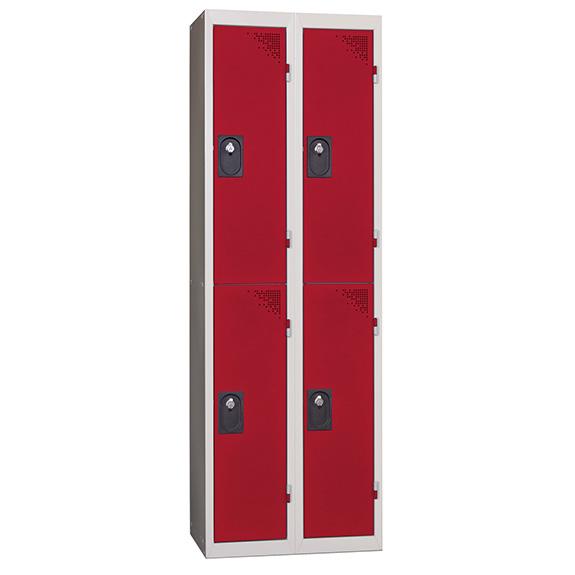 Vestiaire Multicases 2 Colonnes de 2 Cases Rouge L300