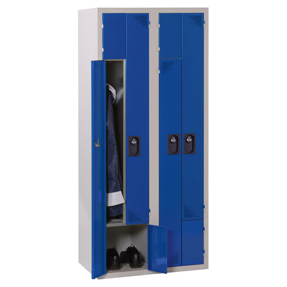 Vestiaire Porte Z 2 Colonnes Bleu ouvert