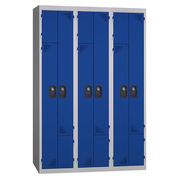 Vestiaire Porte Z 3 Colonnes Bleu