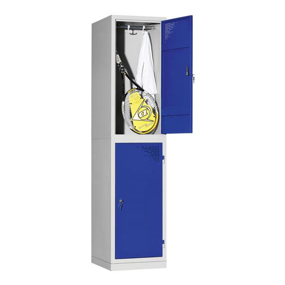 Vestiaire de 2 Casiers Demi-Hauteur Monobloc Gris-Bleu Ouvert