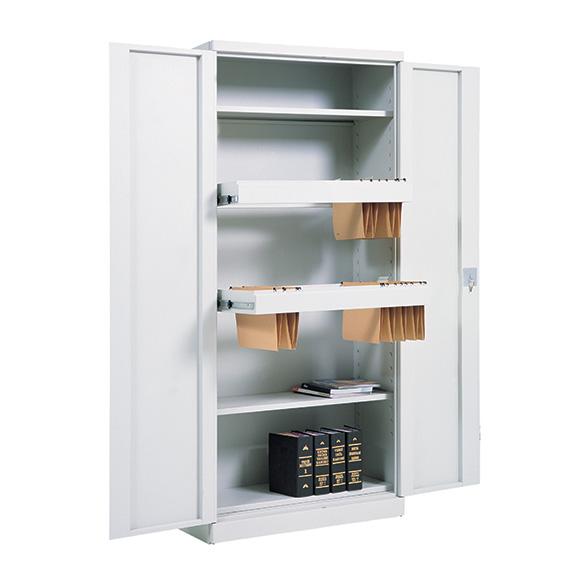 Armoire Haute Monobloc Portes Battantes ouvertes grise