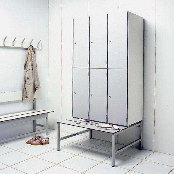 Vestiaire Multicases Monobloc Stratifié Compact blanc insitu