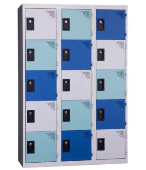 Vestiaire Multicases 3 Colonnes 5 portes Gris Vert Bleu L400