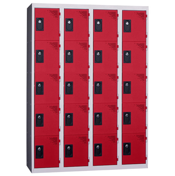 Vestiaire Multicases 4 Colonnes 5 portes Rouge L300