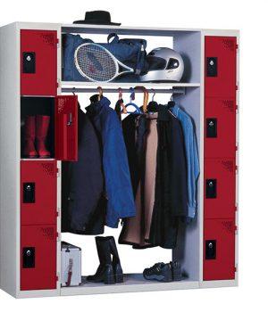 Vestiaire Penderie 2 Colonnes 4 Cases Rouge