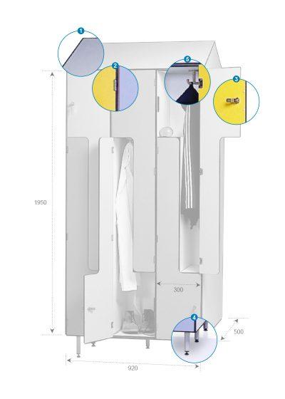 Zoom Vestiaire Monobloc Stratifié Compact Portes L