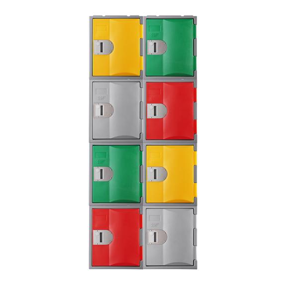 Autre exemple de combinaison de Casiers vert, rouge, jaune, gris, TOPP 460.