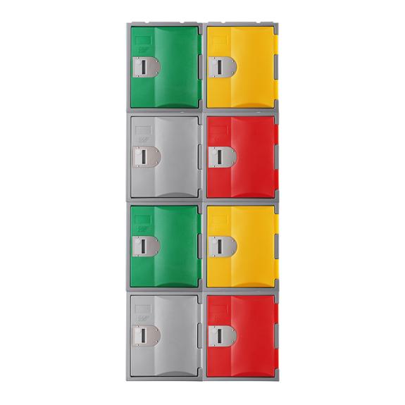 Exemple de combinaison de Casiers vert, rouge, jaune, gris, TOPP 460.