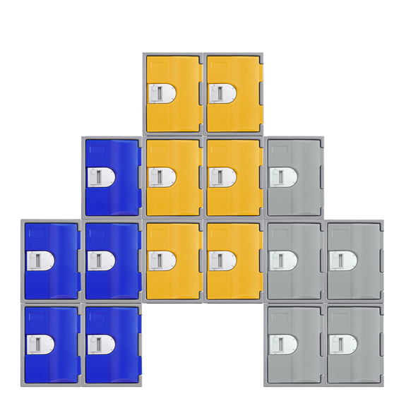 Exemple de combinaison de Casiers bleu, jaune, gris, TOPP 460.