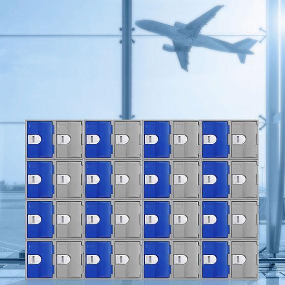 Casiers TOPP 460 pour un hall d'aéroport.